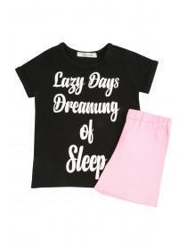 Older Girls Black Lazy Days Slogan Pyjama Set