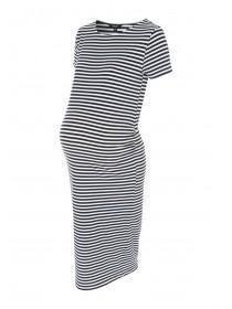 Maternity Monochrome Stripe Midi Dress