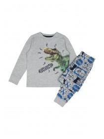 Younger Boys Grey Dinosaur Pyjama Set