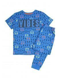 Older Boys Blue Slogan Pyjama Set