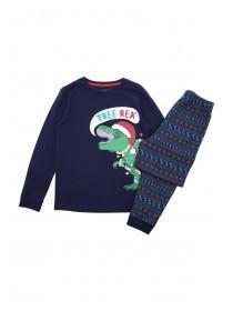 Older Boys Navy Christmas Dinosaur Pyjama Set