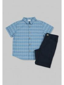 Younger Boys Navy Aztec Shirt and Short Set