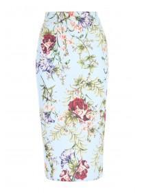 Womens ENVY Blue Floral Pencil Skirt