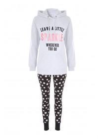 Womens Grey Sparkle Slogan Pyjama Set