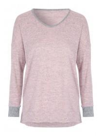 Womens Pink Snow Yarn Lounge Top