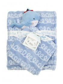 Baby Boys Blue Blanket and Soft Toy Whale Comforter Set