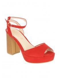 Womens Red Block Heel Platforms