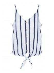 Womens Blue Stripe Tie Front Cami Top