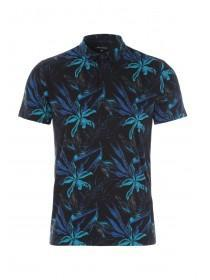Mens Black Tropical Print Polo Shirt