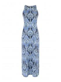 Womens Blue Paisley Maxi Dress