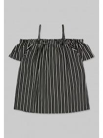 Older Girls Monochrome Stripe Cold Shoulder Top