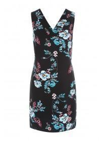 Womens Black Floral Linen Dress