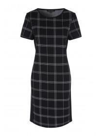 Womens Monochrome Check Side Panel Dress