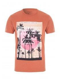 Mens Orange Printed T-Shirt