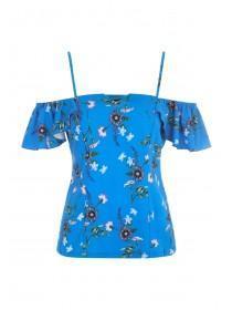 Womens Envy Blue Floral Cold Shoulder Top