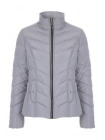 Womens Light Grey Short Padded Coat