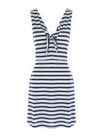 Womens Navy Stripe Knot Front Beach Dress
