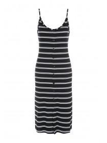 Womens Monochrome Stripe Midi Dress
