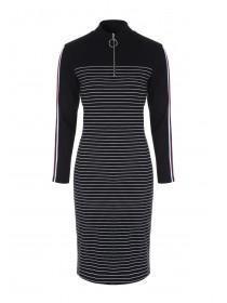 Womens Monochrome Stripe Dress