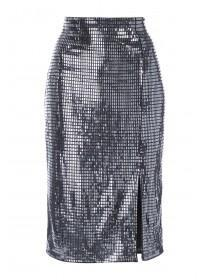Womens Silver Sequin Side Split Skirt