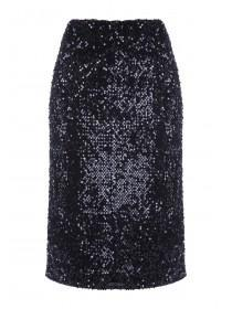 Womens Black Sequin Pencil Skirt