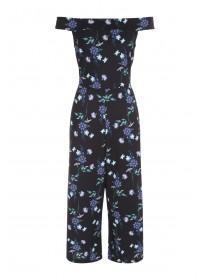 Womens Envy Black Floral Cropped Bardot Jumpsuit