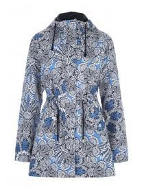 Womens Blue Floral Mac Coat