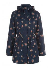 Womens Navy Floral Mac Coat