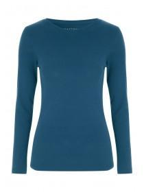 Womens Teal Long Sleeve Crew Neck Top