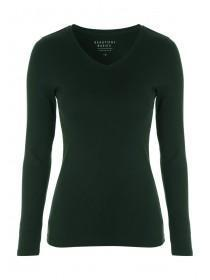 Womens Dark Green Long Sleeve V-Neck Top