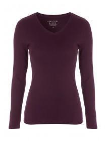 Womens Burgundy Long Sleeve V-Neck Top