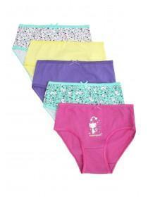 Younger Girls 5pk Multicolour Cat Briefs