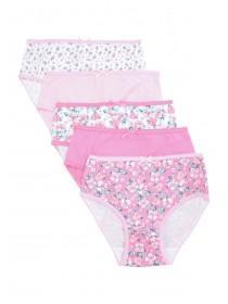 Younger Girls 5pk Pink Floral Briefs