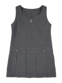 Girls Grey Pleated Back To School Dress