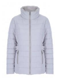 Womens Light Grey Padded Side Buckle Coat