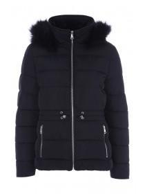 Womens Black Padded Toggle Front Coat