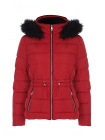 Womens Red Padded Toggle Front Coat