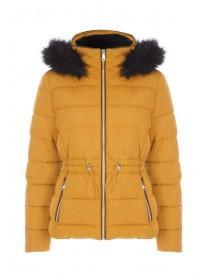 Womens Mustard Padded Toggle Front Coat