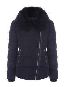Womens Navy Faux Fur Collar Padded Coat