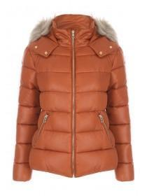 Womens Rust High Shine Padded Coat