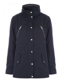 Womens Navy Funnel Neck Parka Coat