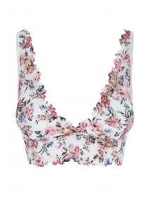Womens Cream Floral Lace Padded Bralette