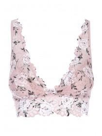 Womens Pink Rose Lace Padded Bralette