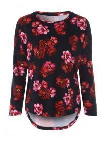 Womens Red Floral Lounge Top