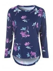Womens Blue Floral Lounge Top
