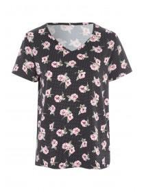 Womens Black Floral Soft Touch Pyjama Top