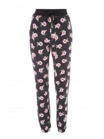 Womens Black Floral Soft Touch Pyjama Bottoms