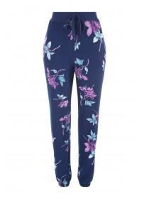 Womens Blue Floral Soft Touch Pyjama Bottoms