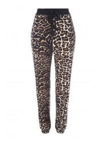 Womens Brown Leopard Print Lounge Trousers
