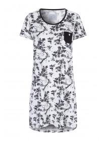 Womens Monochrome Floral Nightdress